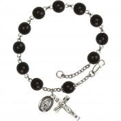 Sterling Silver Rosary Bracelet 8mm Black Capped Our Father beads, Crucifix sz 7/8 x 3/8.