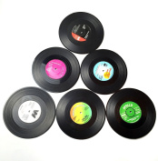 Cimostar Vintage Vinyl Record Beverage Coasters Set of 6, for wine, beer, hot and cold drinks