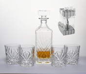 5-Piece Decanter and Whiskey Glasses, Whiskey Lovers Set-Bar Glassware Set, Gifted Boxed Set Includes a Decanter 750ml (with full glass ground stopper) and Crystal DOF Glasses  .   INCLUDED