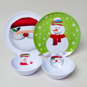 Set of 4 Christmas / Holiday Melamine Embossed 25cm Plate and 17cm Bowl