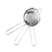 Kihappy Fine Mesh Stainless Steel Loose Tea Food Strainers with Handle for Kitchen Use Utensil, Silver, Set of 3