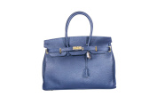 Italian Coated Leather Celebrity Inspired Designer Tote Handbag with Gold Hardware