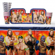 WWE Party Pack for 16 Guests - Straws, Dessert Plates, Beverage Napkins, Cups, and Table Cover