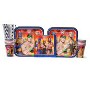 WWE Party Pack for 16 Guests - Straws, Lunch Plates, Luncheon Napkins, and Cups