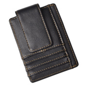 Le'aokuu Genuine Leather Magnet Money Clip Front Pocket Slim Wallet Card Case