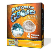 Geode Starter Rock Science Kit - Crack Open 4 Amazing Rocks and Find Crystals! by Discover with Dr. Cool