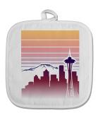 TooLoud Seattle Skyline Sunrise White Fabric Pot Holder Hot Pad