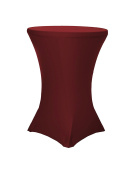 LA Linen Cocktail 90cm Round 110cm High Spandex Fitted Stretchable Elastic Tablecloth, Burgundy.