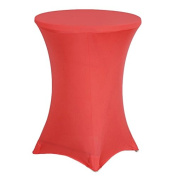 BalsaCircle 90cm Cocktail SPANDEX Fitted Stretchable Elastic Tablecloth - Coral
