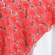 180cm X72 Inch Couture Blossoms & Sequins In Lace Overlay - Coral