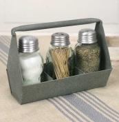 Primitive Industrial Galvanised Toolbox MASON Jar Salt & Pepper & Tooth pick Caddy