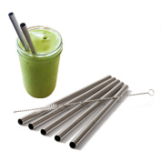 Stainless Steel Smoothie Straws Extra Large for Shakes Milkshake and Smoothies - Set of 5 Straight straws with 2 Cleaning Brushes