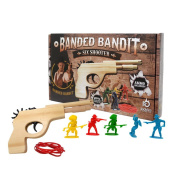 Banded Bandit Six Shooter Rubber Band Gun Set w/ Targets & Ammo | Precision Laser Cut Novelty Wooden Toy Pistol Shoot 6 Rounds in Semi Automatic Rapid Fire Succession | Perfect Gift for Kids Ages 5+
