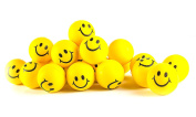 Why Worry. Be Happy! Neon Yellow Smile Funny Face Stress Ball - Happy Smiley Face Stress Balls Bulk Pack of 24 Relaxable 5.1cm Stress Relief Smile Squeeze Balls Fun Toys Christmas Stocking Stuffer