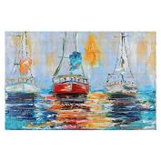 Area Rug, Kitchen Mat, Bath Mat with Chevron Weave Unique, Decorative, Stylish from DiaNoche by Karen Tarlton - Harbour Boats Sunrise