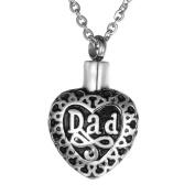 VALYRIA My Dearest Dad Heart Cremation Urn Necklace Keepsake Ashes Memorial Pendant
