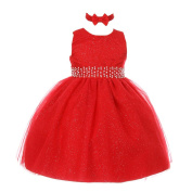 RainKids Baby Girls Red Sparkly Pearl Diamond Tulle Christmas Dress 6-24M