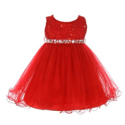 Baby Girls Red Sequin Stone Lace Tulle Sleeveless Christmas Dress 6-24M