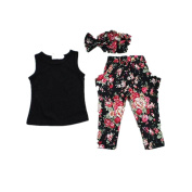 For 2-7 Years old Girls,Clode® Fashion Baby Girls Sleeveless Black Shirt ,Flower Print Long Pants and Headband Scarf 3 Piece Outfit