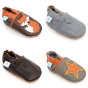 Dotty Fish - Soft Leather Baby & Toddler Shoes with Suede Sole - Boys & Girls - Orange & Brown Fox - 0-6 Months