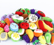 Tekyo Creative Life Fruit & Vegetable Family Plush Toy Keychain Decorations, Kids Party Supplies Favours,-Set of 10 Random Pattern.