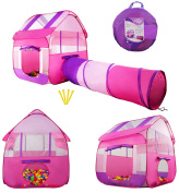 Kiddey Pink Children Playhouse Tent With Tunnel –Pops Up no Assembly Required– Large Kids Indoor & Outdoor House For Boys & Girls, Fits Up To 4 Children, 4 Ground Stakes. Perfect Gift For Toddlers