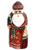 Wooden Hand Carved Painted Russian Santa Claus Figurine With Tree 16cm