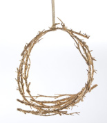 Christmas Glittered Gold Leaf (colour) Hanging Bird Nest Cradle 22cm