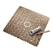InterDesign Pebblz Non-Slip Suction Bath Mat for Shower, Bathtub - Square, Amber