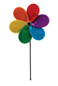 In the Breeze 30cm Rainbow Glitter Flower - Mylar Material - Colourful Wind Spinner for your Yard and Garden