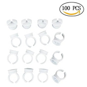 chiccharming 100Pcs Disposable Tattoo Eyelash Makeup Ink Cup Finger Ring Holder for Eyelash Extension ,Size M