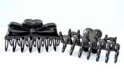 Pack 2 Clamps Hair Black 9 cm