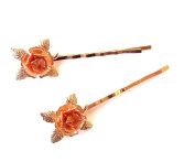 2 x Rose Gold Flower Hair Grips Baroque Flower Bobby Pins Clips Bridal Vtg 1180 *EXCLUSIVELY SOLD BY STARCROSSED BEAUTY*