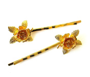 2 x Gold Rose Flower Hair Grips Baroque Flower Bobby Pins Clips Bridal Vtg 1178 *EXCLUSIVELY SOLD BY STARCROSSED BEAUTY*