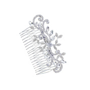 Hxhome Bridal Silver Diamante Hair Comb Clip Tiara for Wedding Party Prom
