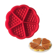 Rely2016 Silicone Waffle Mould Maker Pan Microwave Baking Cake Muffin Bakeware Mould Tool Heart Shape