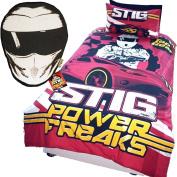 Top Gear Stig Speed Freaks Single Duvet Cover & Stig Head Shaped Cushion Set Bundle
