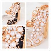 High-grade Fine Pearl Diamond High Heels Car Key Ring Miss Jin Zhu Small Gift Diamond Pendant Ornaments 1 + 1