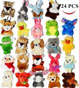 Joyin Toy 24 Pack of Mini Animal Plush Toy Assortment (24 units 7.6cm each) Kids Party Favours