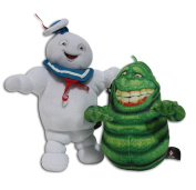Stay Puft Marshmallow Man 23cm & Slimer Ghost 18cm Pack 2x Soft Toys Serie Ghostbusters 3 Large White Sailor Cap Original Plush Doll Toy Character Serie