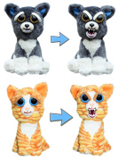 Feisty Pets by William Mark- Sammy Suckerpunch & Princess Pottymouth- 20cm Plush Stuffed Dog & Cat That Turn Feisty With a Squeeze!