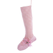 60cm Pretty in Pink White Striped Ballet Shoe Christmas Stocking