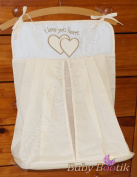 Nappy Stacker / Nappy Bag Match Baby Nursery COT or COT BED LOVE YOU HEART - EMBROIDERY CREAM