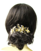 Set of 3 Gold White Silver Bridal Hair Clips Headpiece Vine Flower Pearl 1244 *EXCLUSIVELY SOLD BY STARCROSSED BEAUTY*