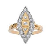 0.65 Carat Round Cut Vintage Anniversary Diamond Ring 14K Two Tone Gold