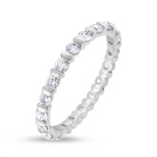 0.92 CT Natural Round Diamond Eternity Band in Solid 18k White Gold
