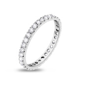 1.00 CT Natural Round Diamond Eternity Band in Solid 14k White Gold