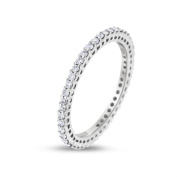 0.46 CT Natural Round Diamond Eternity Band in Solid 18k White Gold