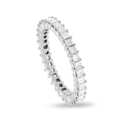 1.33 CT Natural Princess Cut Diamond Eternity Band in Solid 18k White Gold