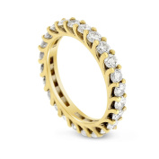 2.25 CT Natural Round Diamond Eternity Band in Solid 14k Yellow Gold